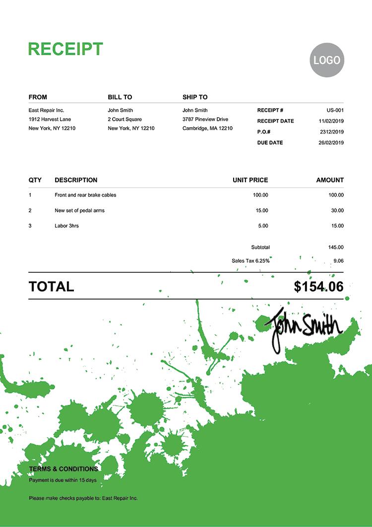 Receipt Template Us Ink Blot Green