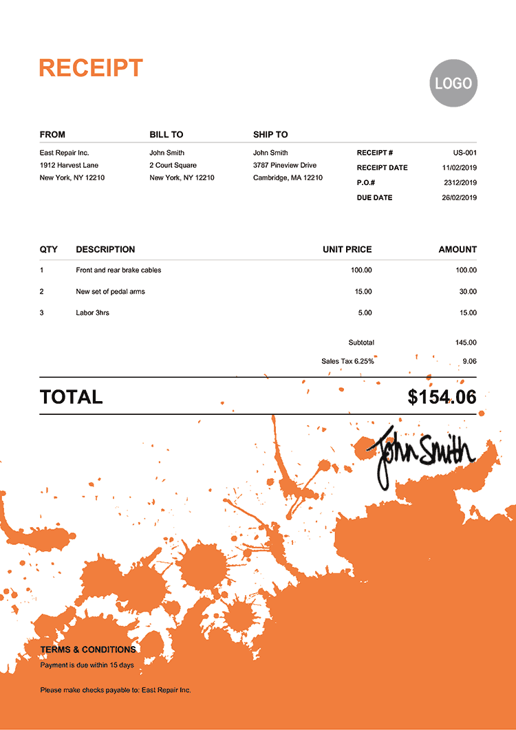 Receipt Template Us Ink Blot Orange