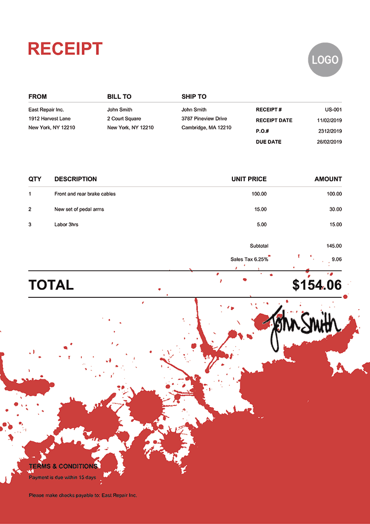 Receipt Template Us Ink Blot Red