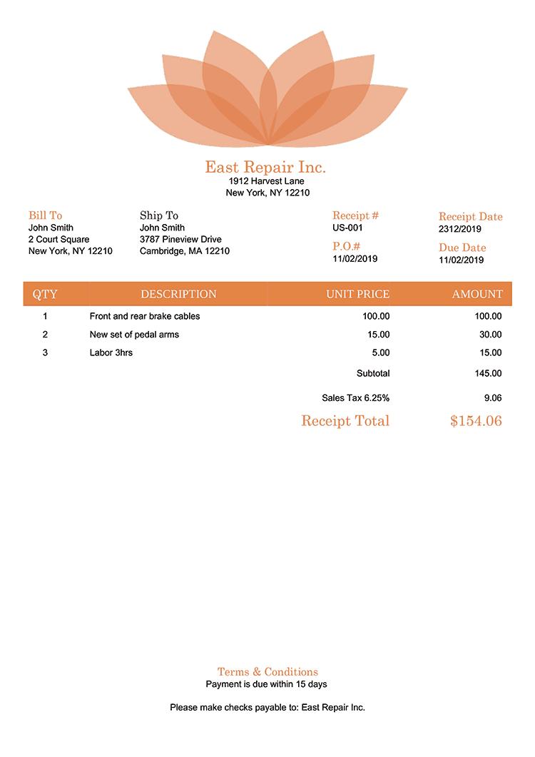 Receipt Template Us Lotus Orange No Logo