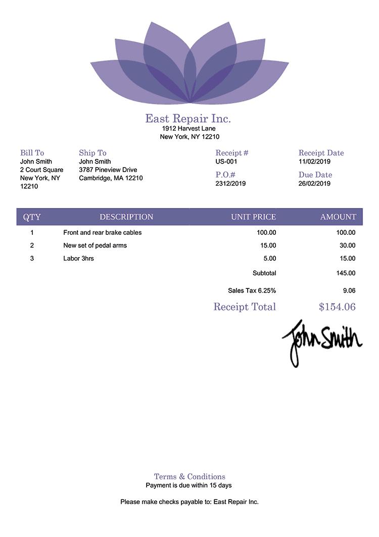 Receipt Template Us Lotus Purple