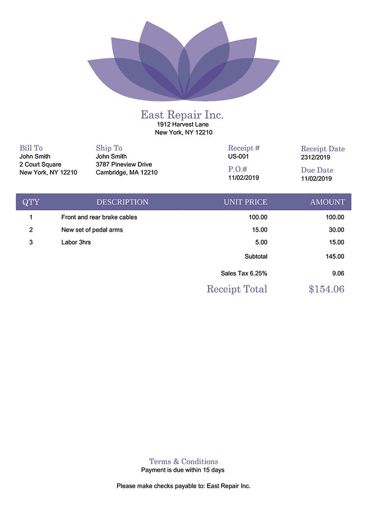 Receipt Template Us Lotus Purple No Logo