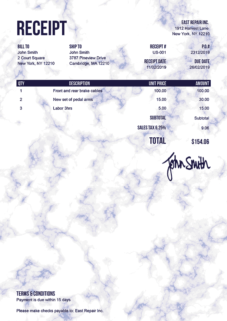 Receipt Template Us Marble Blue