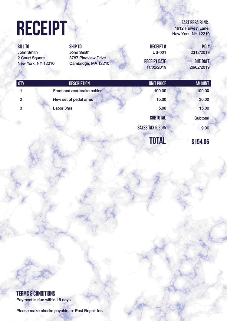 Receipt Template Us Marble Blue No Logo