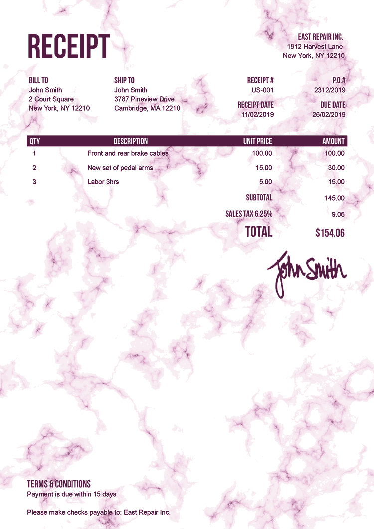 Receipt Template Us Marble Pink