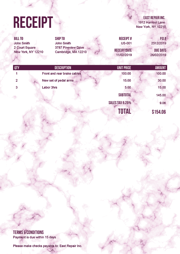 Receipt Template Us Marble Pink No Logo