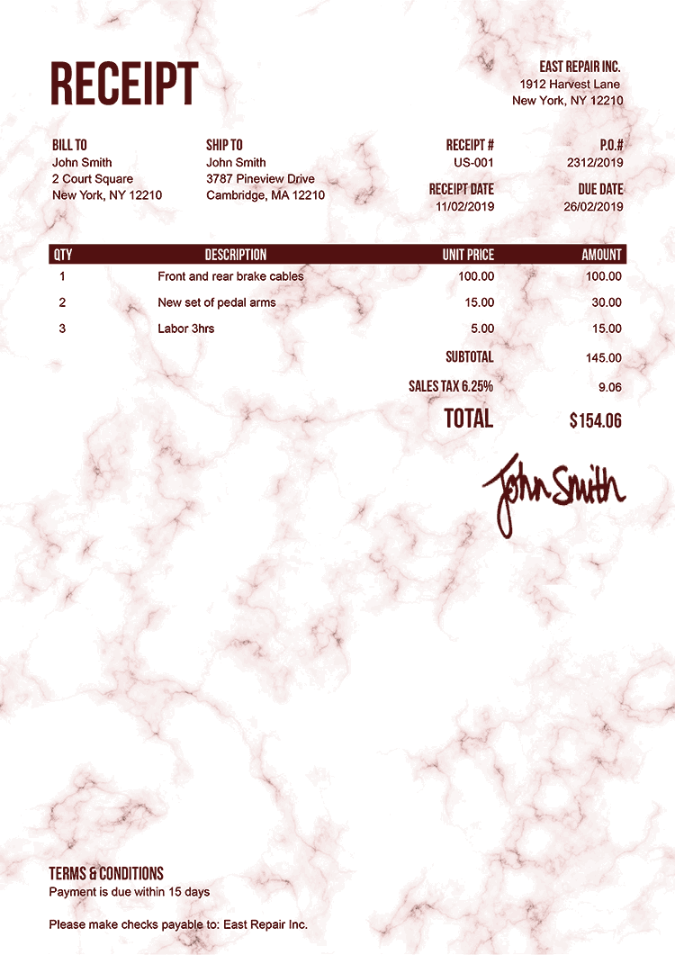 Receipt Template Us Marble Red