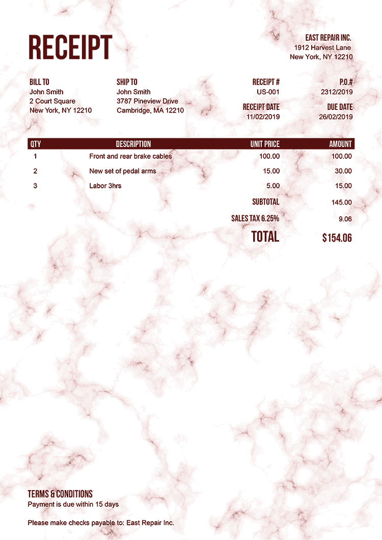 Receipt Template Us Marble Red No Logo