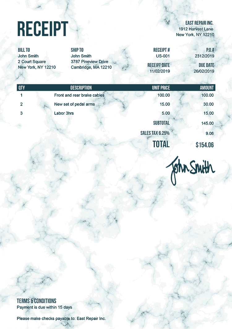 Receipt Template Us Marble Teal
