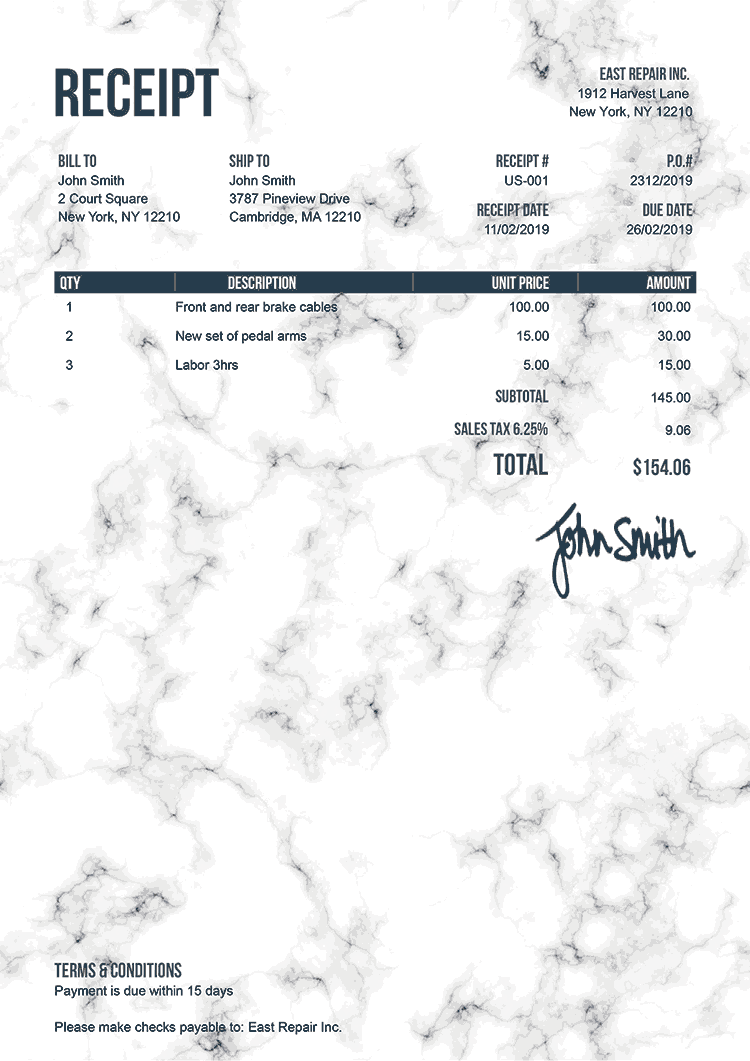 Receipt Template Us Marble White