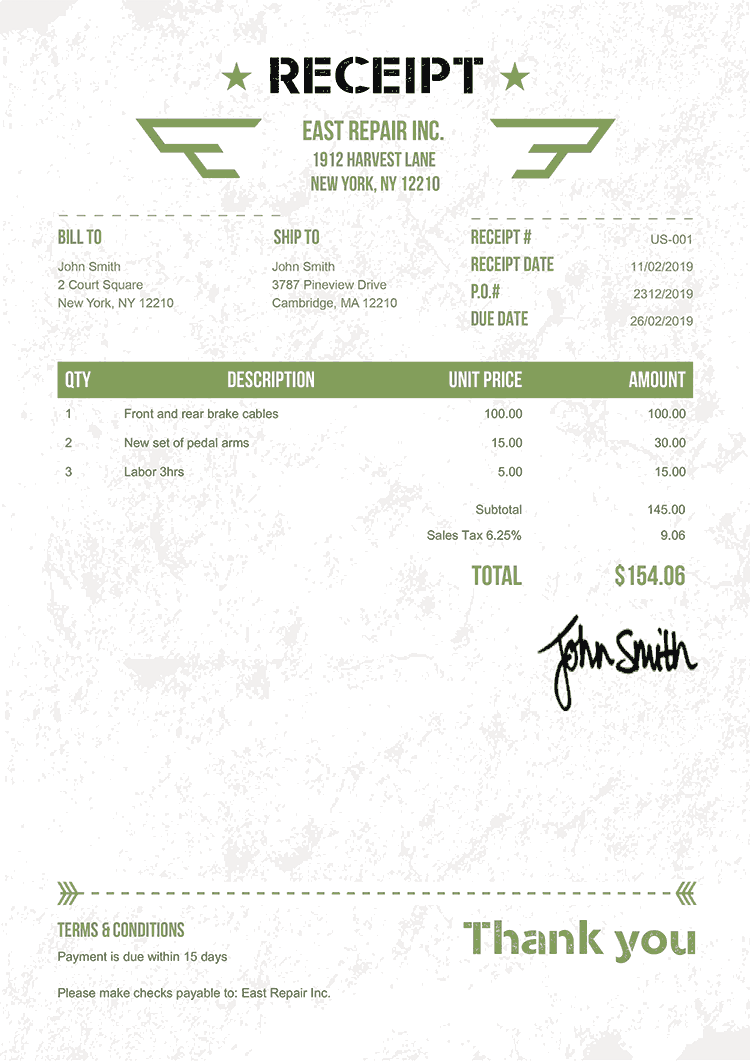 Receipt Template Us Military Green