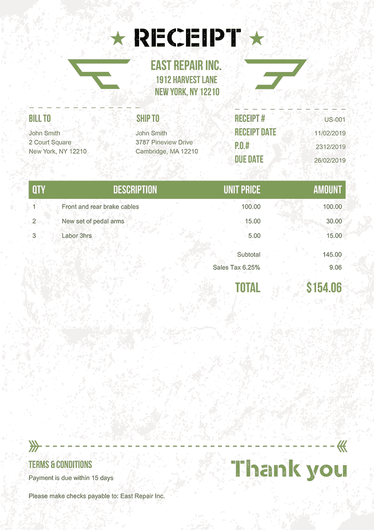 Receipt Template Us Military Green No Logo