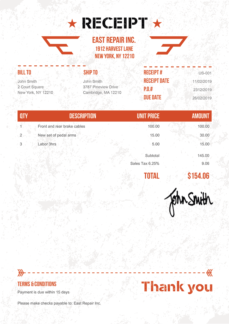 Receipt Template Us Military Orange