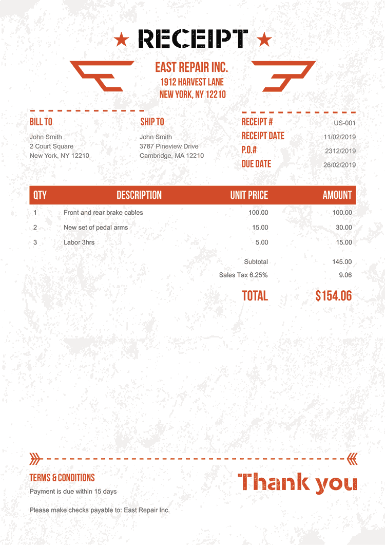 Receipt Template Us Military Orange No Logo