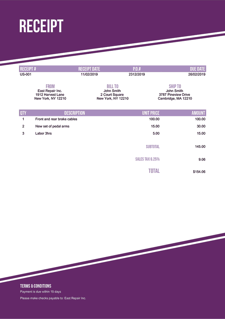 Receipt Template Us Modest Purple No Logo