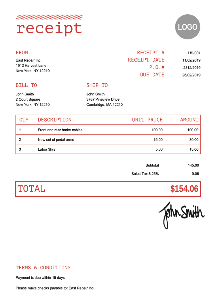 Receipt Template Us Mono Red