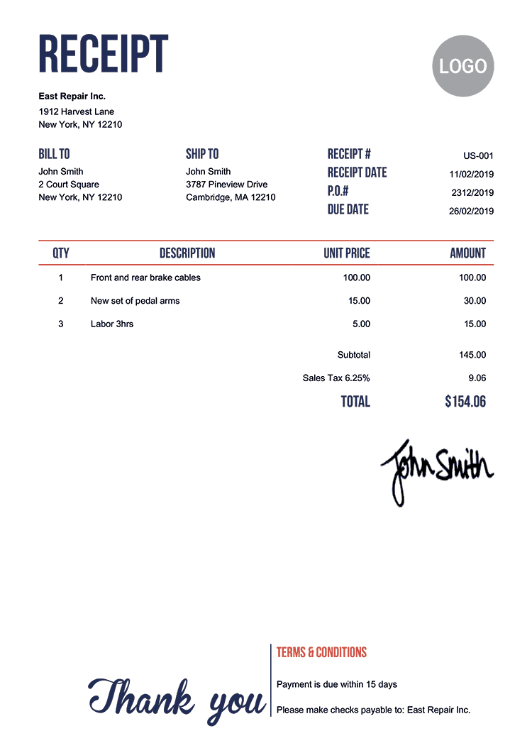 Receipt Template To Print - Fill Online, Printable ...