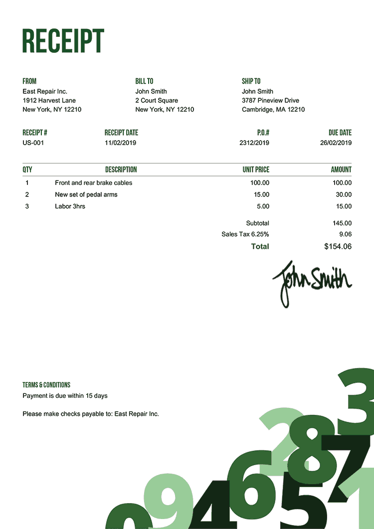 Receipt Template Us Numbers Green