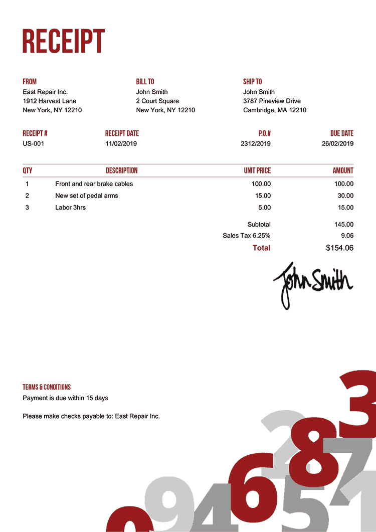 Receipt Template Us Numbers Red