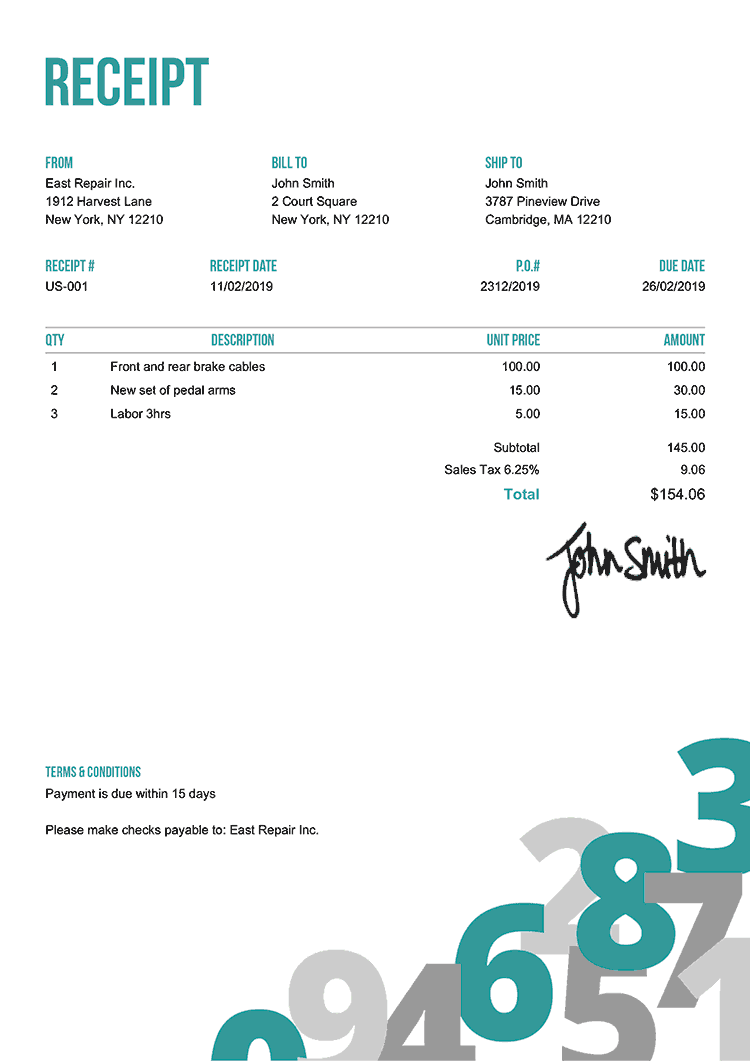 Receipt Template Us Numbers Teal