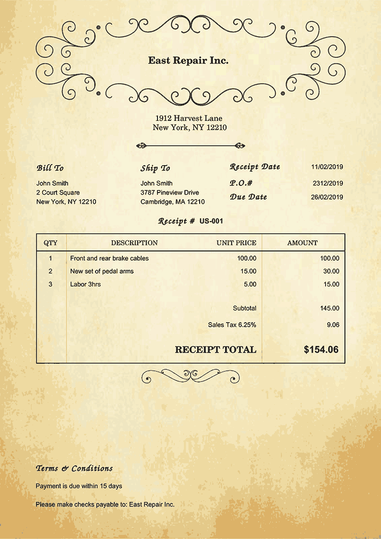 Receipt Template Us Oldie No Logo