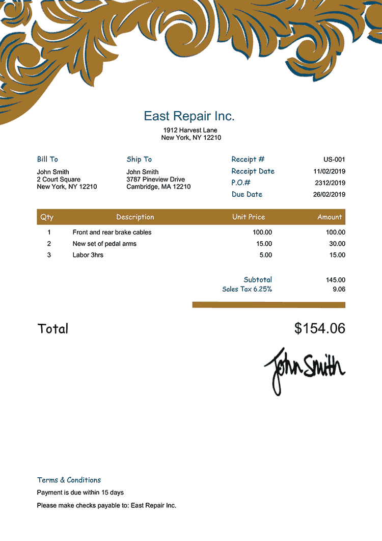 Receipt Template Us Ornate Gold