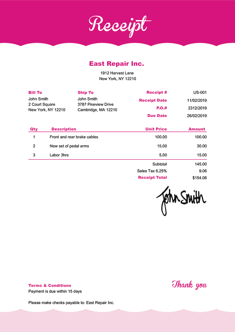 Receipt Template Us Pink Frosting