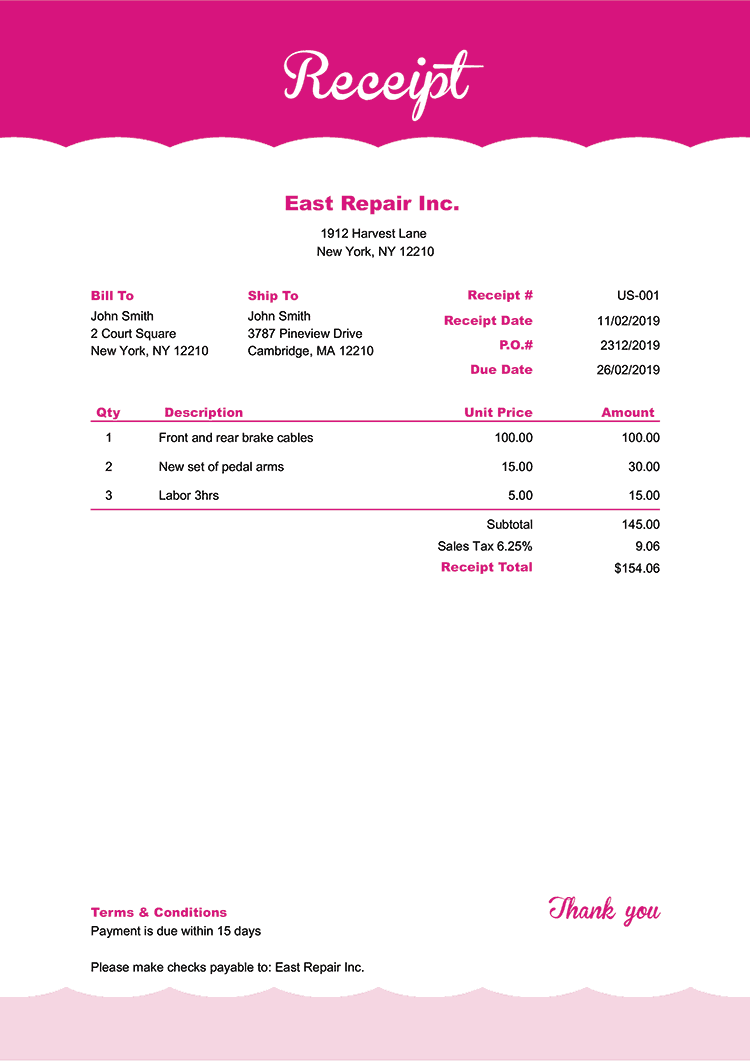 Receipt Template Us Pink Frosting No Logo