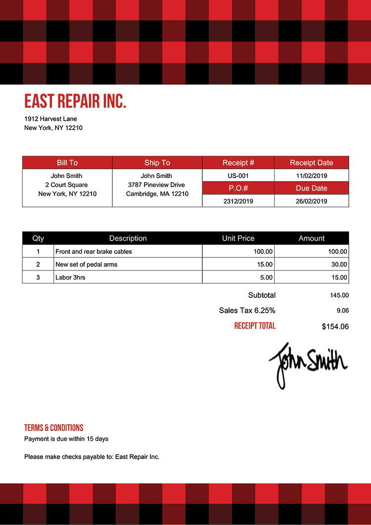 Receipt Template Us Plaid Red