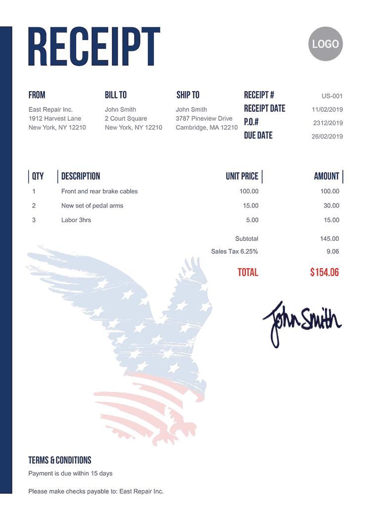 Receipt Template Us Us Eagle