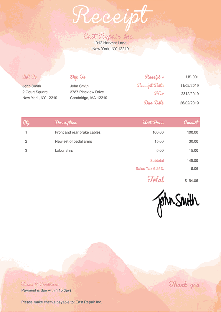 Receipt Template Us Watercolor Pink