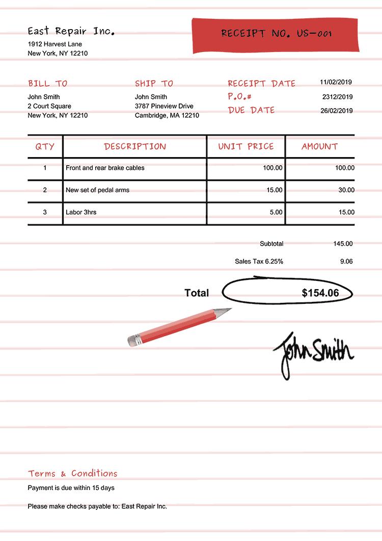 Receipt Template Us Workbook Red