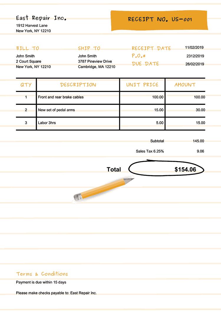 Receipt Template Us Workbook Yellow No Logo