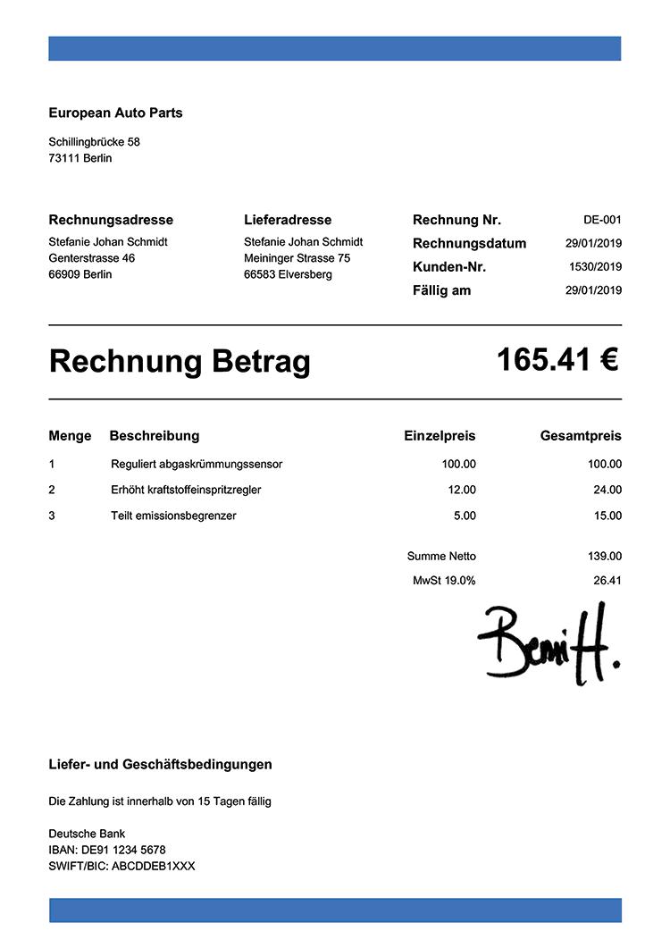 Rechnungsvorlage De Band Blau