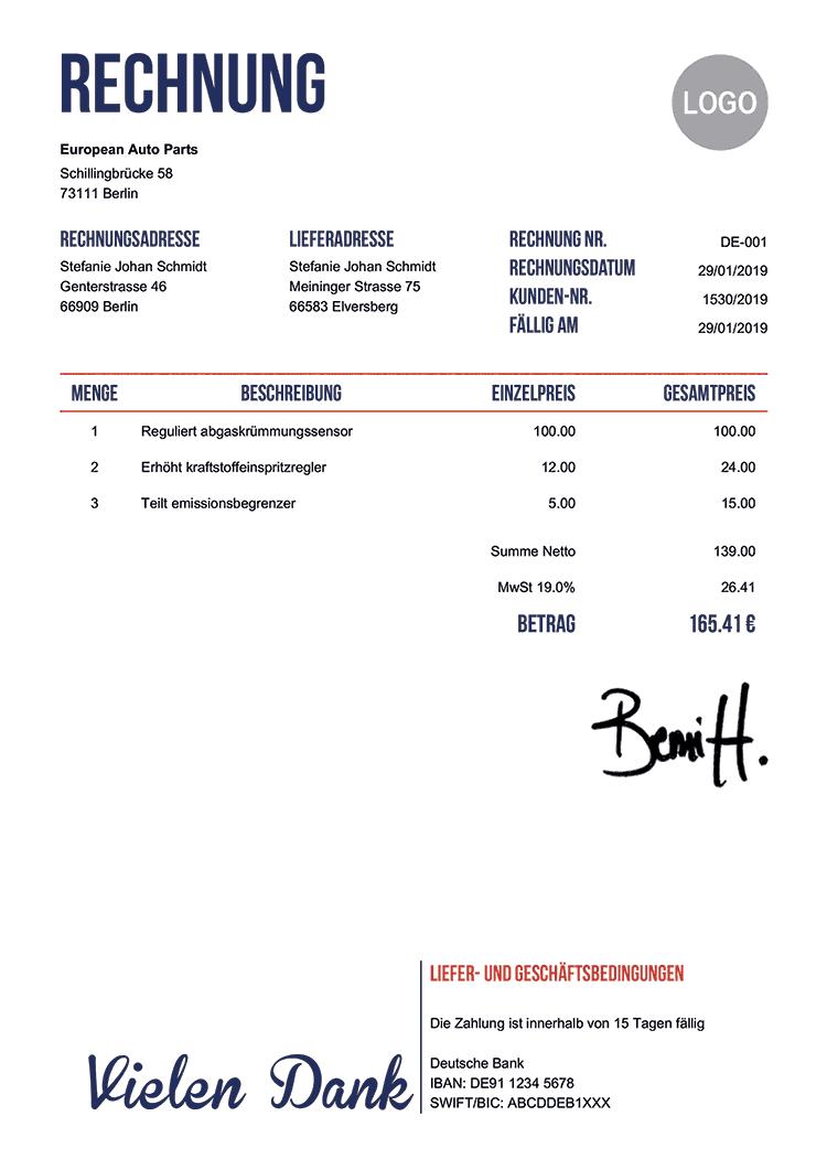 Rechnungsvorlage De Hubsch