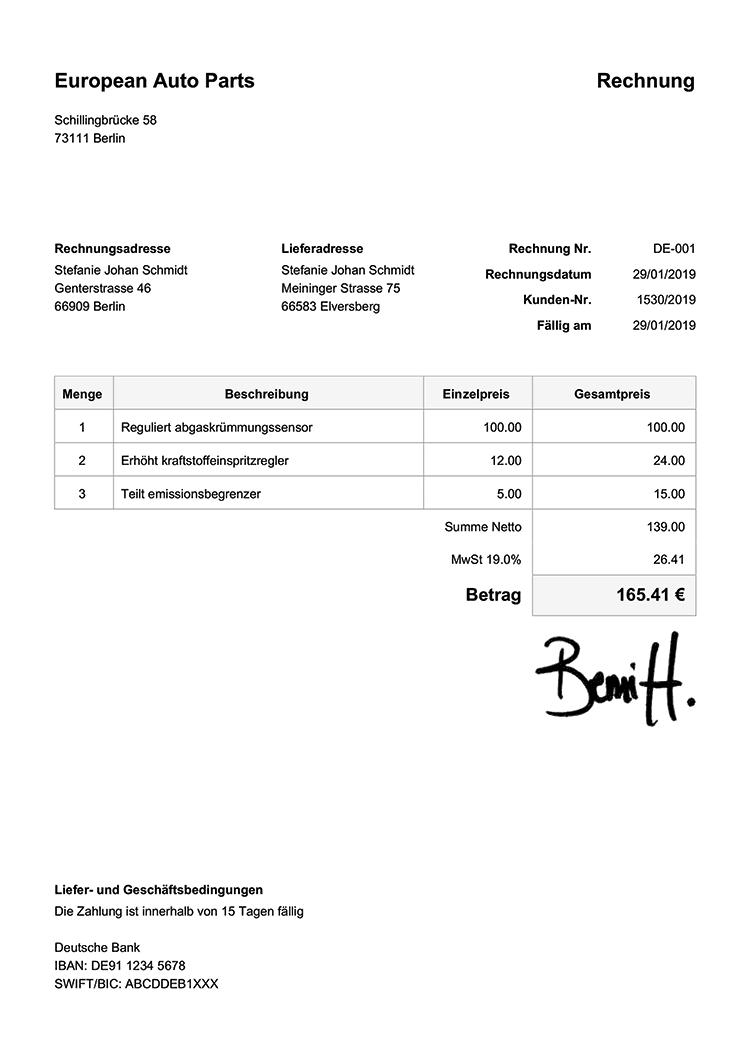 Rechnungsvorlage De Klassisch Weiss