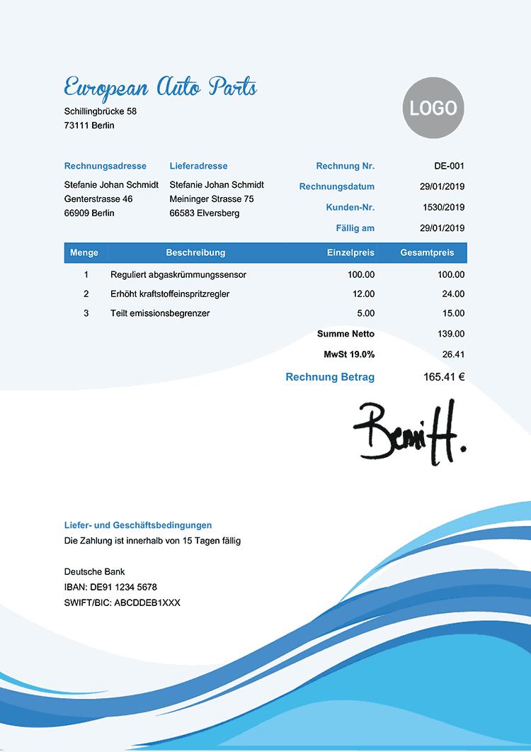 Rechnungsvorlage De Kuhle Wellen