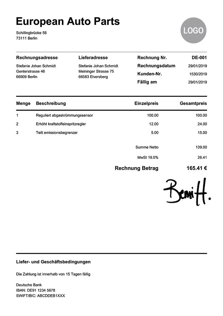 Rechnungsvorlage De Pur Weiss