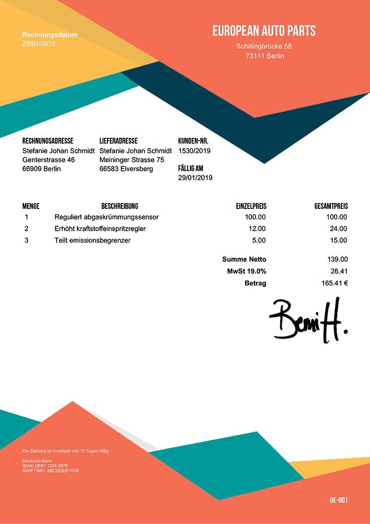 Rechnungsvorlage De Sedona