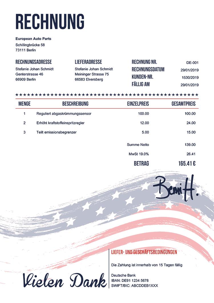 Rechnungsvorlage De Us Flagge