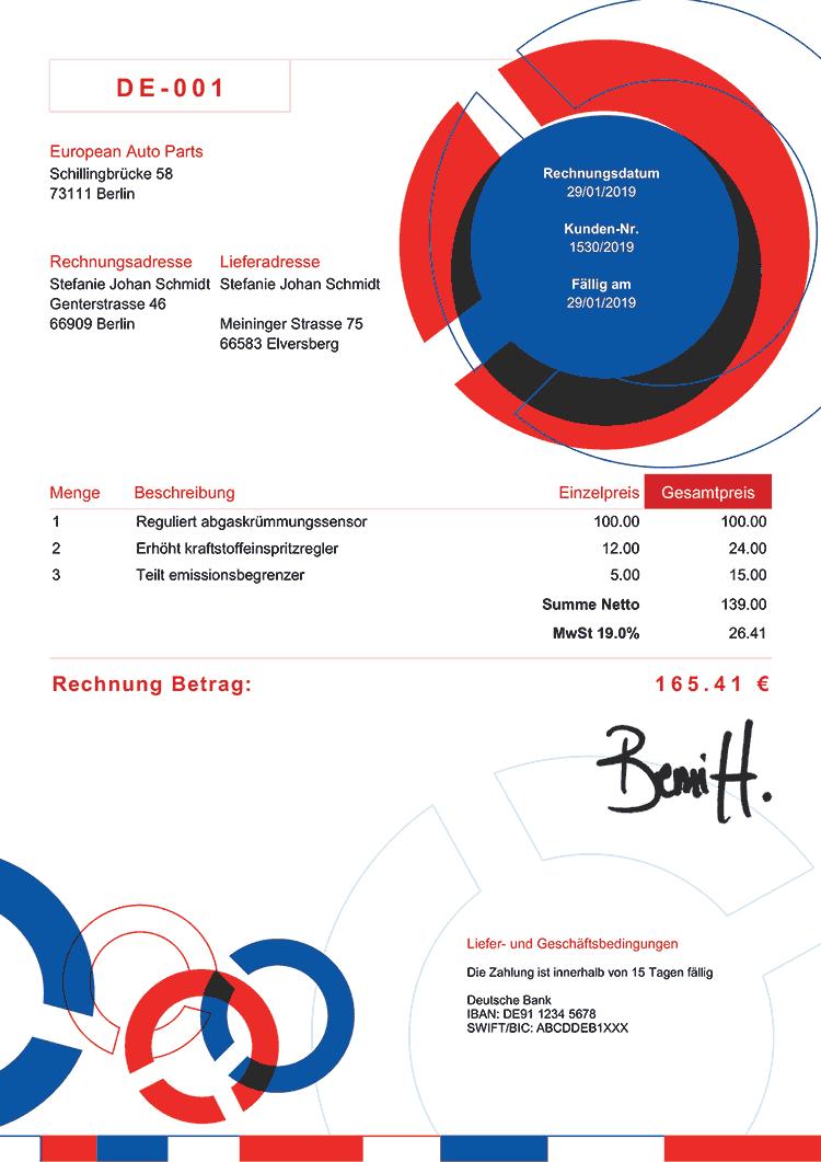 Rechnungsvorlage De Verbindung Rbw