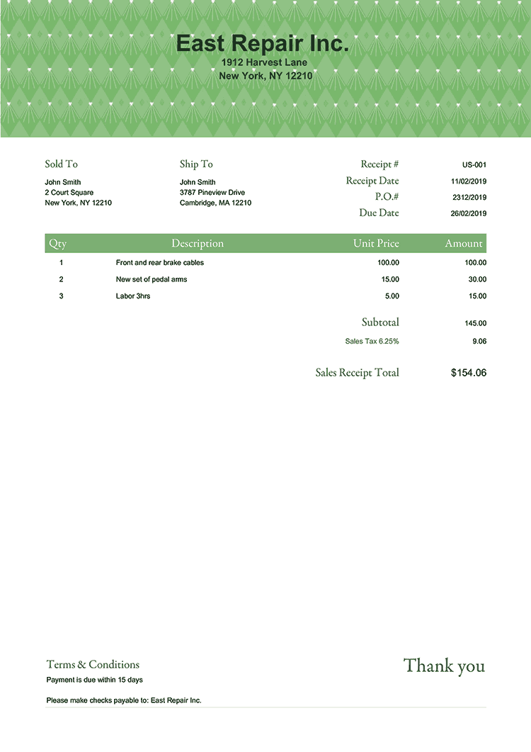 Sales Receipt Template Us Art Deco No Logo
