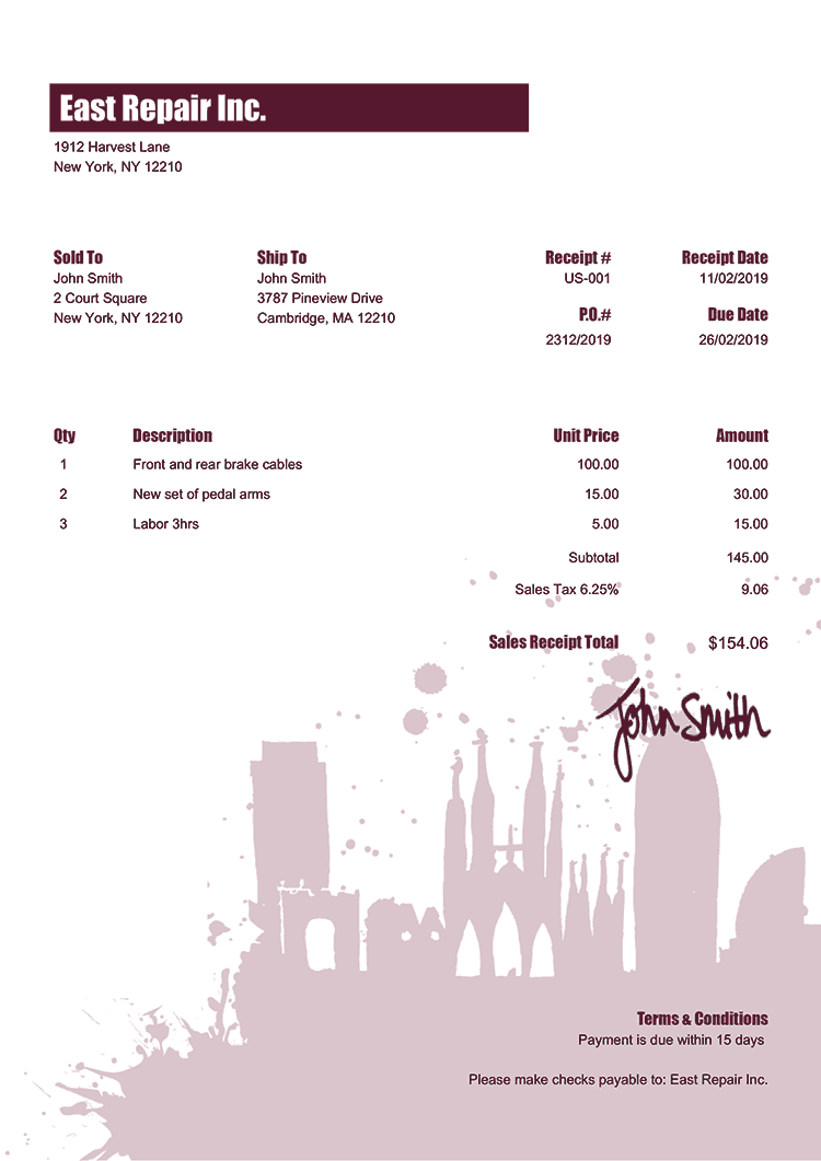 Sales Receipt Template Us Barcelona