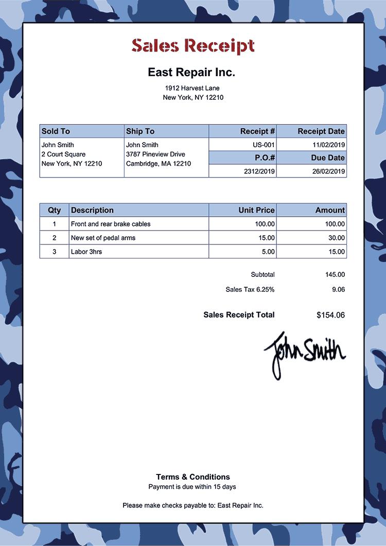 Sales Receipt Template Us Camo Blue