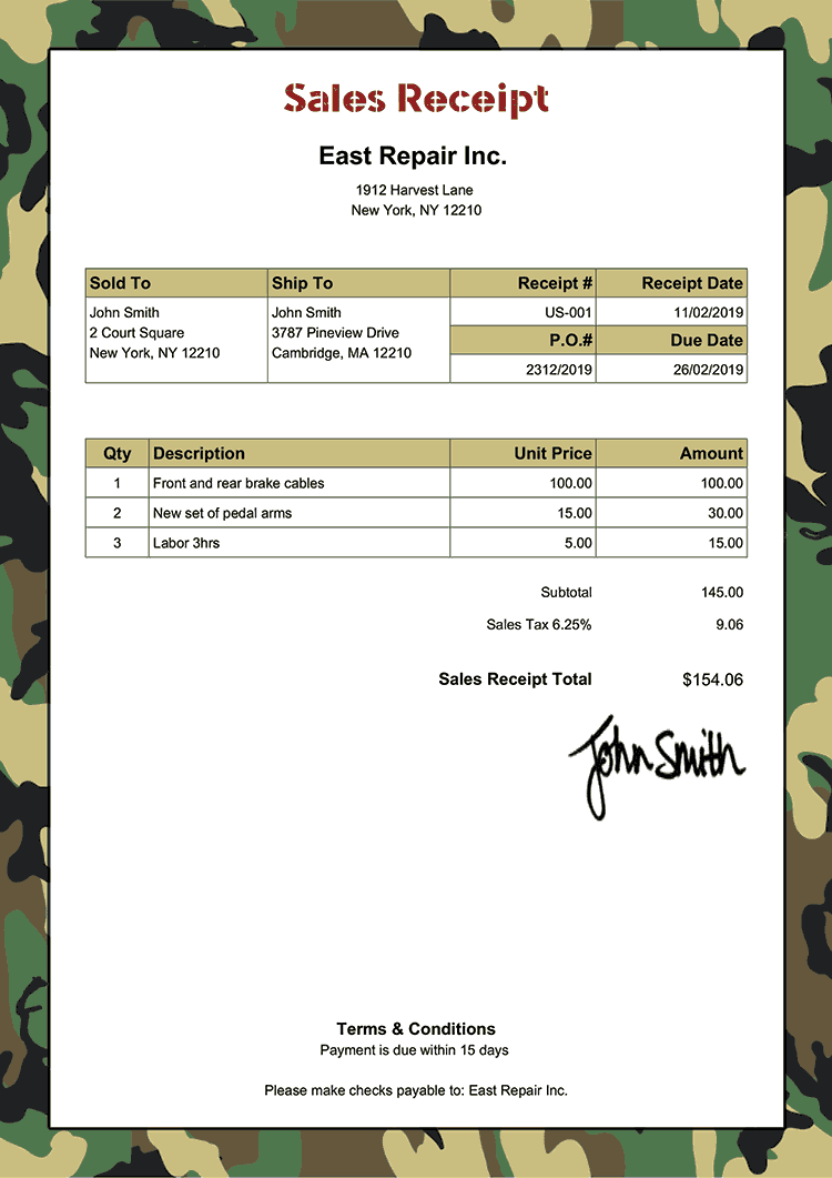 Sales Receipt Template Us Camo Green