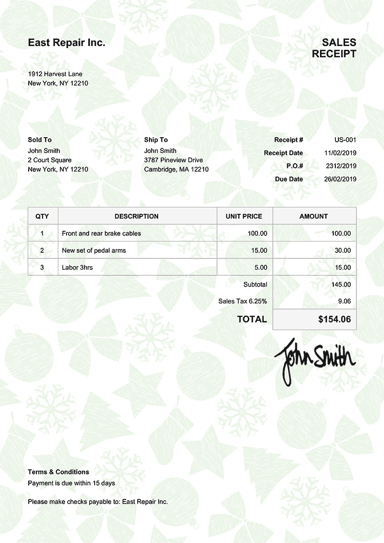 Sales Receipt Template Us Christmas Pattern Green