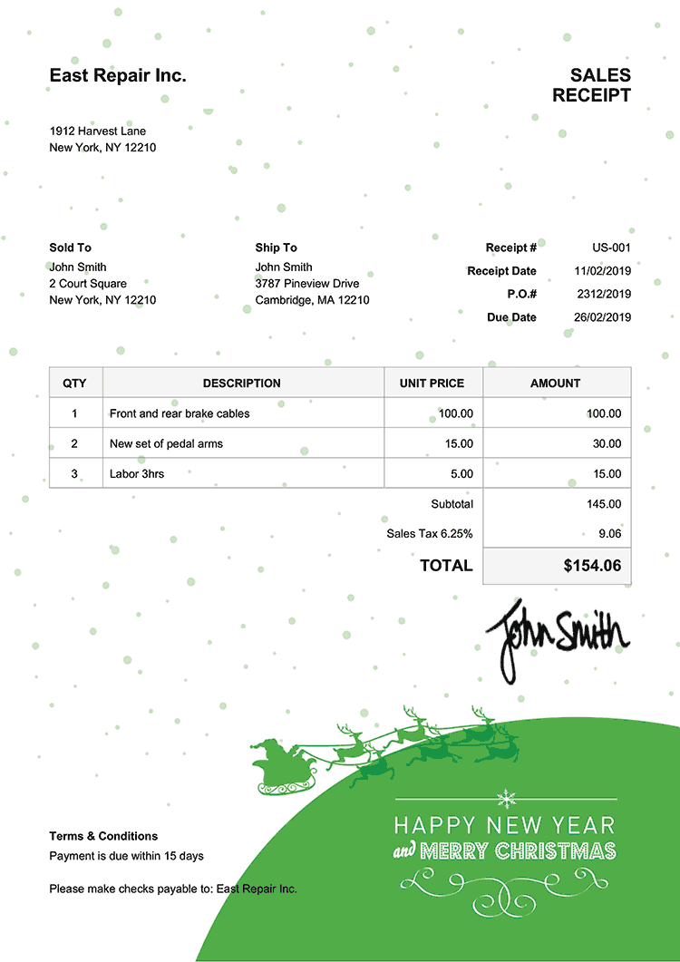 Sales Receipt Template Us Christmas Santa Green
