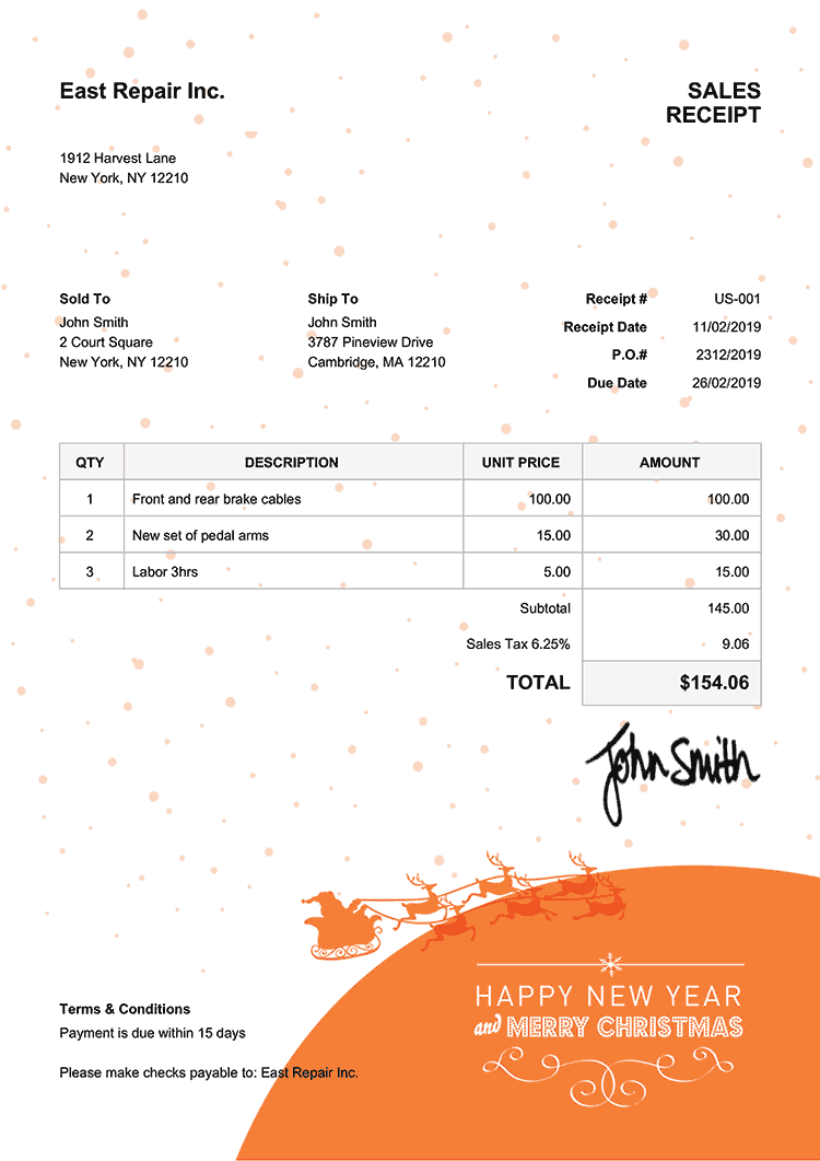 Sales Receipt Template Us Christmas Santa Orange