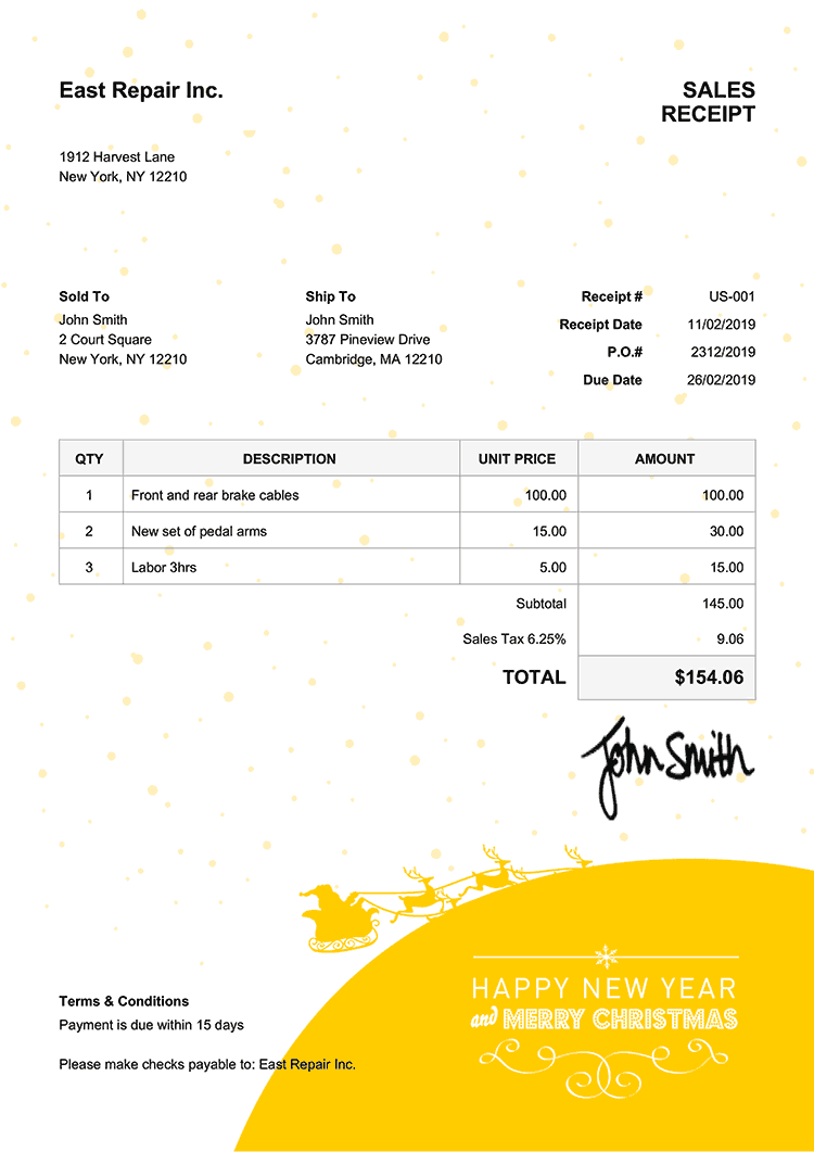 Sales Receipt Template Us Christmas Santa Yellow
