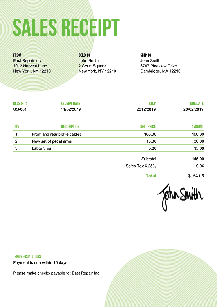 Sales Receipt Template Us Circles Green